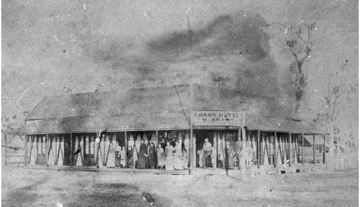 1880 Adam's Hotel Bundaberg. Situated on the south-east corner of Burbong and Barolin Streets. Adam's Hotel was erected ca. 1874 by Walter Adams. In the mid 1880s the name changed to the Metropolitan Hotel. A larger Metropolitan Hotel was later erected on this site. (Description supplied with photograph.) SLQ