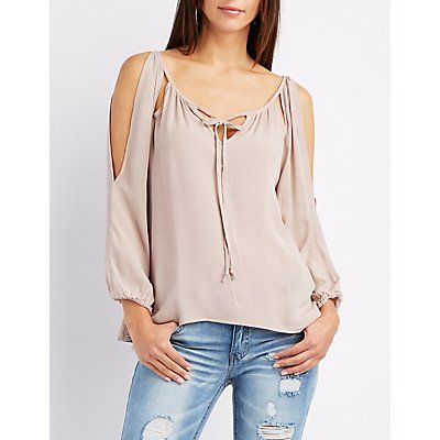 Taupe Split Sleeve Tie-Front Blouse - Size L