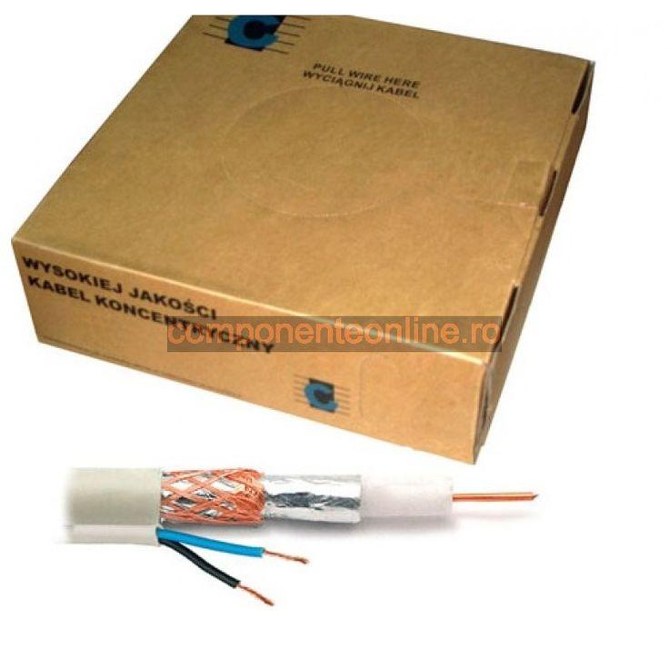 Cablu coaxial, RG59, alb + 2x0,35mm - 402271