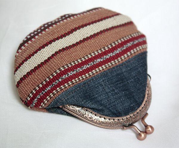 Guatemala canvas and denim coin purse boho chic