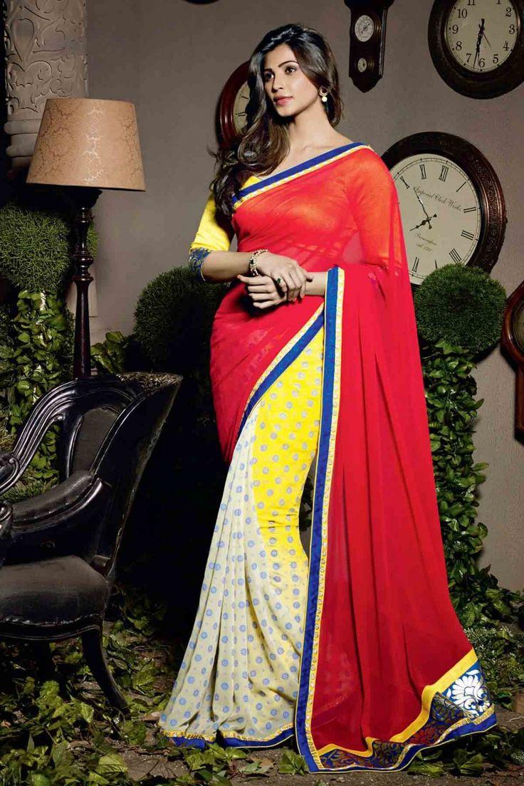 Daisy Shah Saree - Multicolor Faux Georgette Party Wear Saree #designer #bollywood #daisyshah #sarees @ http://zohraa.com/sarees/sari/celebrity.html #celebrity #zohraa #onlineshop #womensfashion #womenswear #bollywood #look #diva #party #shopping #online #beautiful #beauty #glam #shoppingonline #styles #stylish #model #fashionista #women #lifestyle #girls #fashion