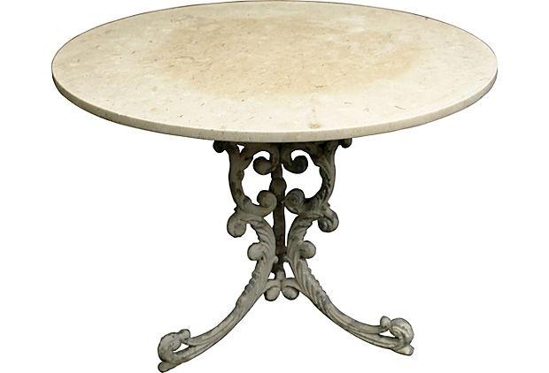 Marble-Top Metal Garden Table on OneKingsLane.com 1000