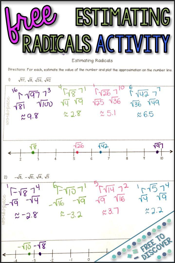 Estimating Radicals Activity Math Centers Middle School Free Math Lessons Middle School Math Estimating square root worksheet