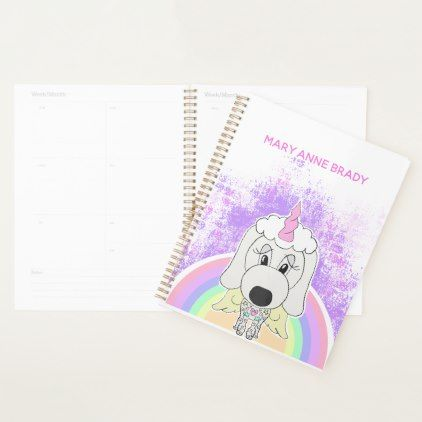White Unicorn Poodle Dog Personalized Planner - personalize gift idea special custom diy or cyo
