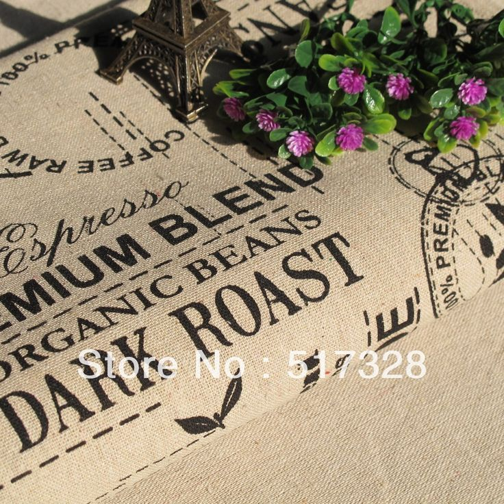 """Linen Cotton Fabric Cloth -DIY Sewwing Cloth - English letters paris printed Vintage Style - 55"""" 1 meter"""