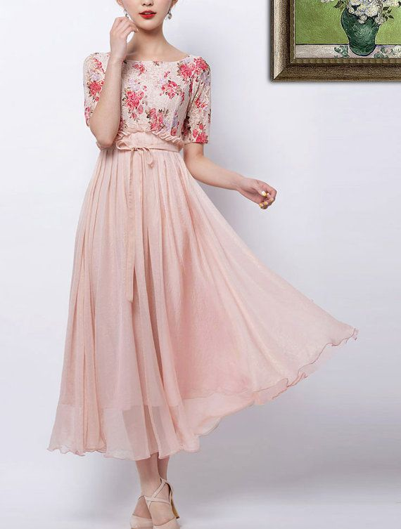 Floral Lace & Pink Chiffon Maxi Dress - Mixed Media Dress