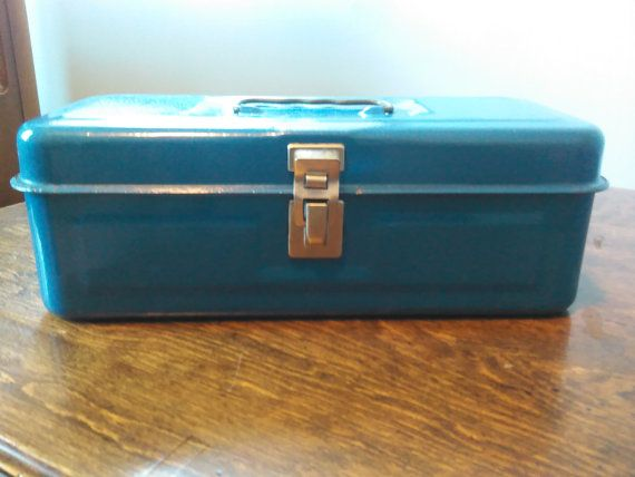 Vintage Blue Tool Box Old blue Tool Box Blue by UpTheAntiqueCo