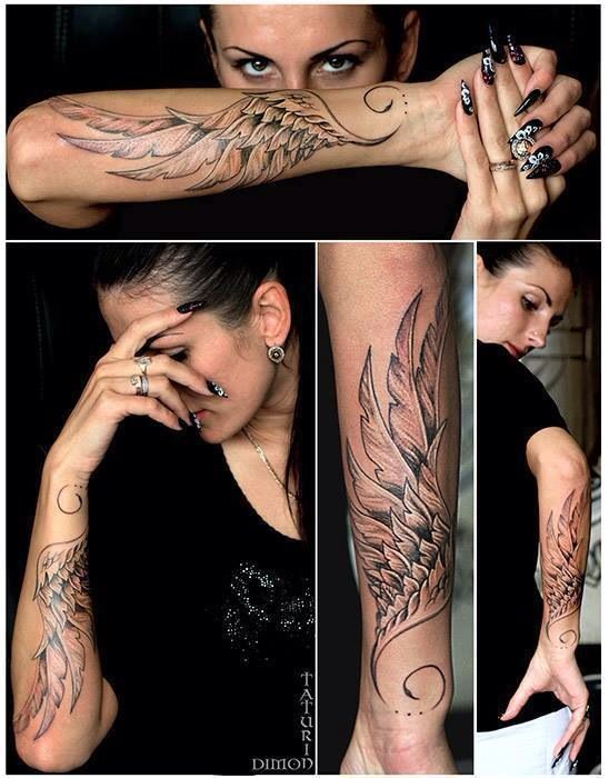 Forearm wing tattoo                                                                                                                                                                                 More