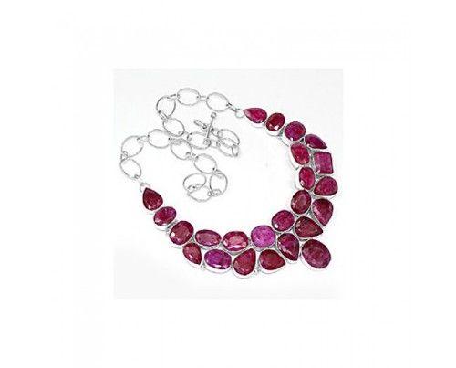 Genuine 925 sterling silver Indian Ruby Gemstone Cluster  Necklace sterling silver jewelry  #jewelry,  #necklace