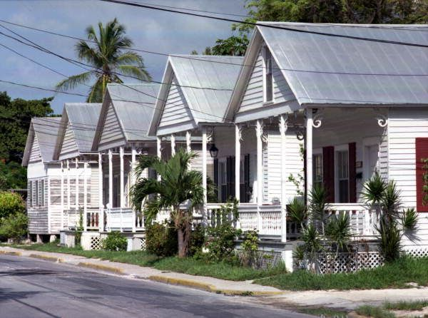 "Florida Memory - Row of Key West ""Shotgun"" style conch houses on Truman Avenue."