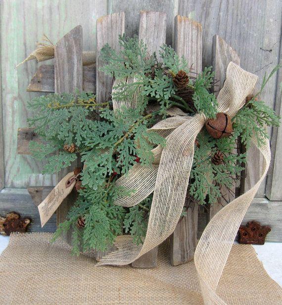 Primitive Christmas Wreath, Winter, Rustic, Farmhouse