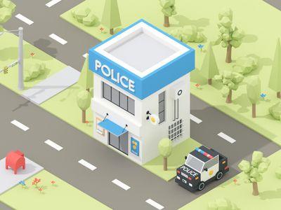 Isometric Police Building