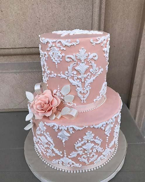 23 Stunning Spring Wedding Cakes to Inspire: #14. ELEGANT PINK AND WHITE PATTERN CAKE; #springwedding; #weddingcake