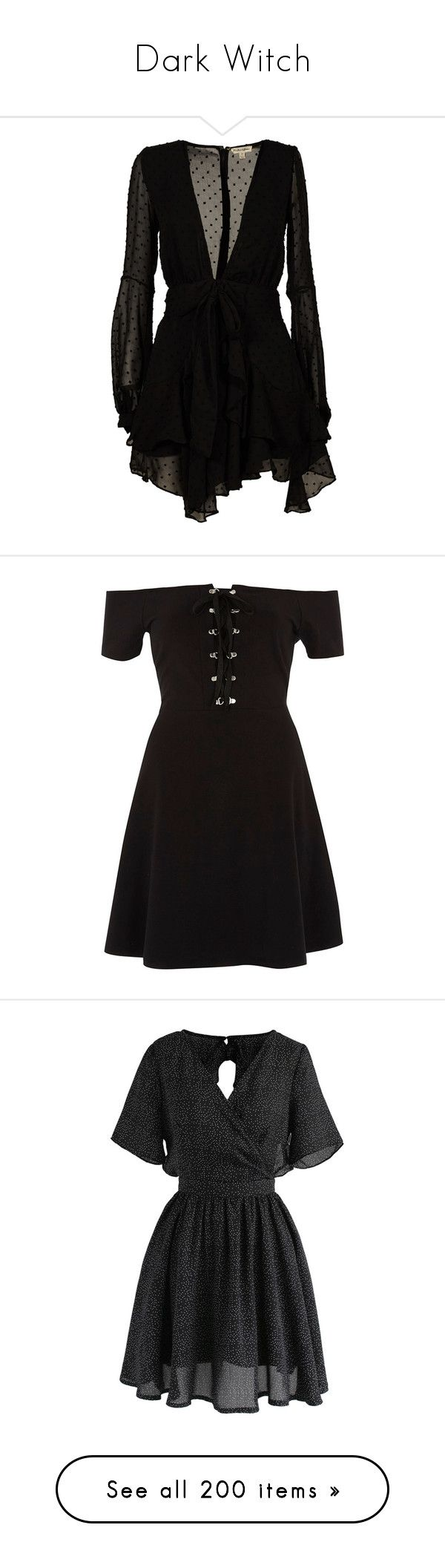 """""""Dark Witch"""" by yourlocalwitch ❤ liked on Polyvore featuring dresses, black, womenclothingdresses, long sleeve short dress, long sleeve button dress, button dress, long sleeve polka dot dress, long sleeve day dresses, skater dresses and women"""