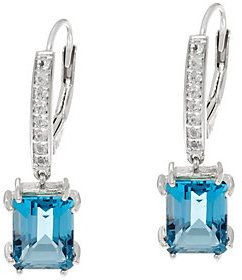 QVC As Is London Blue & White Topaz Sterling Silver Earrings 4.65 cttw