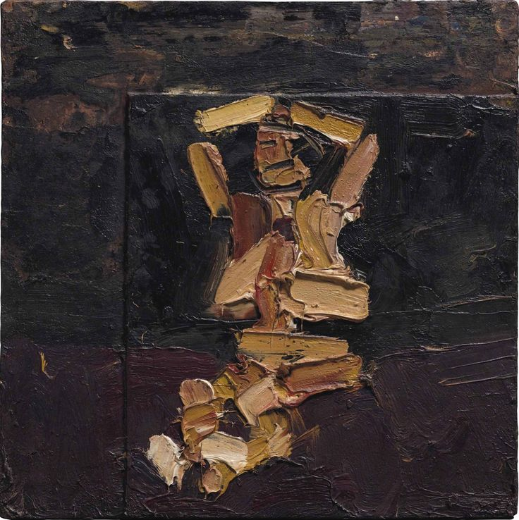 Frank Auerbach (UK b. 1931)Seated Figure with Arms Raised (1973)oil on board 41.2 x 41.2 cm