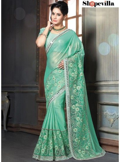 Majesty Turquoise Shimmer Georgette Designer Saree-4206