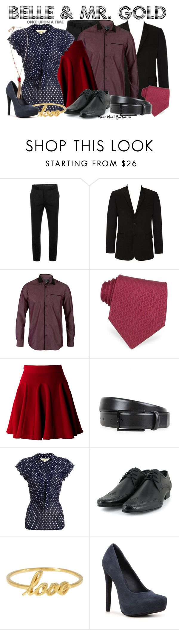 """""""Once Upon a Time"""" by wearwhatyouwatch ❤ liked on Polyvore featuring Alexander McQueen, Fendi, HUGO, John Lewis, Vegetarian Shoes, Alex Monroe, Kelsi Dagger Brooklyn, Lucky Brand, ruffle blouses and polka dots"""