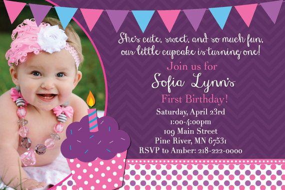 Girl's Cupcake Themed Birthday Party Custom Photo Invitation