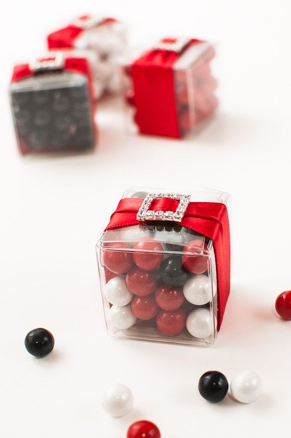 Bling & Satin Wedding Candy Box Favors in Poppy Red, Black & White by PennyAnnDesigns, $4.75