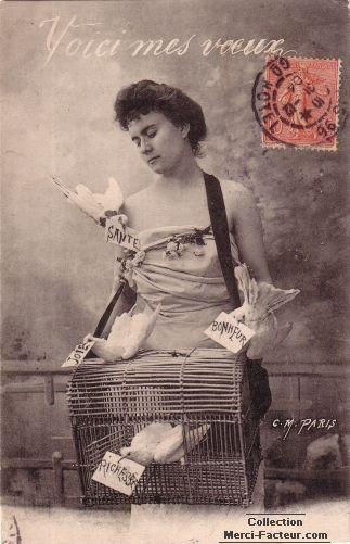 Carte postale ancienne de voeux avec vendeuse de colombes
