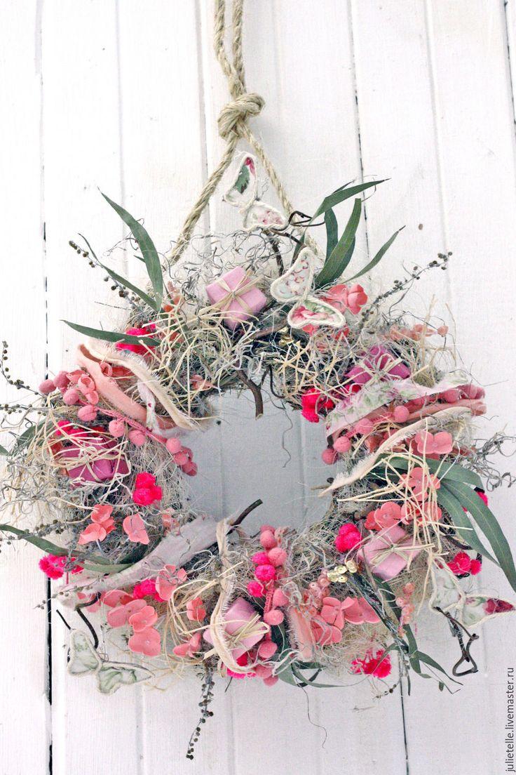 Купить Весенний розовый венок - бледно-розовый, розовый, весна, весенний декор, весенний венок