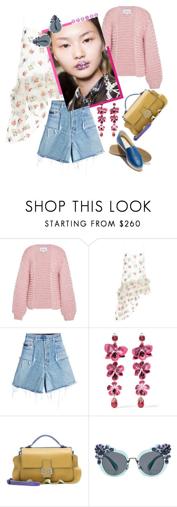 """""""Spring Florals"""" by statuslusso ❤ liked on Polyvore featuring I Love Mr. Mittens, Isa Arfen, Ksenia Schnaider, Preen, Etro, Fendi, Miu Miu, Flowers and springfashion"""