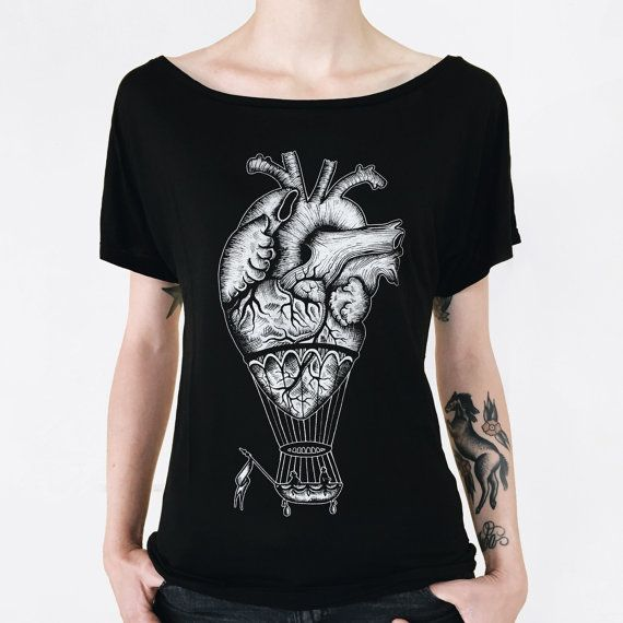 anatomical heart tshirt hot air balloon t-shirt womens TUNIC shirt steampunk tattoo print tshirt woman anniversary gift alternative clothing