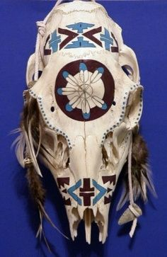 painted deer skulls | aztec deer skull
