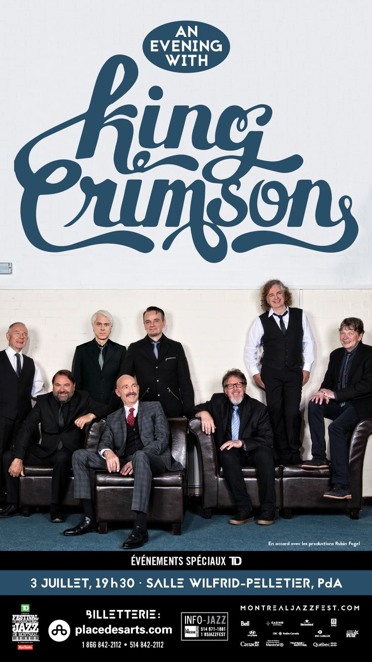 KING CRIMSON à la Salle Wilfrid-Pelletier de la Place des Arts le 3 juillet 2017. Depuis 1969, le Roi Cramoisi ne cesse de se réinventer, proposant chaque fois une musique sophistiquée qui célèbre la virtuosité de ses collaborateurs. Robert Fripp, catalyseur du groupe depuis sa formation, nous présente l'une des incarnations les plus abouties de l'étonnante bête polymorphe qu'est King Crimson : un octuor à quatre batteurs, qui, promet-il, risque de « faire pas mal plus de bruit qu'avant ».