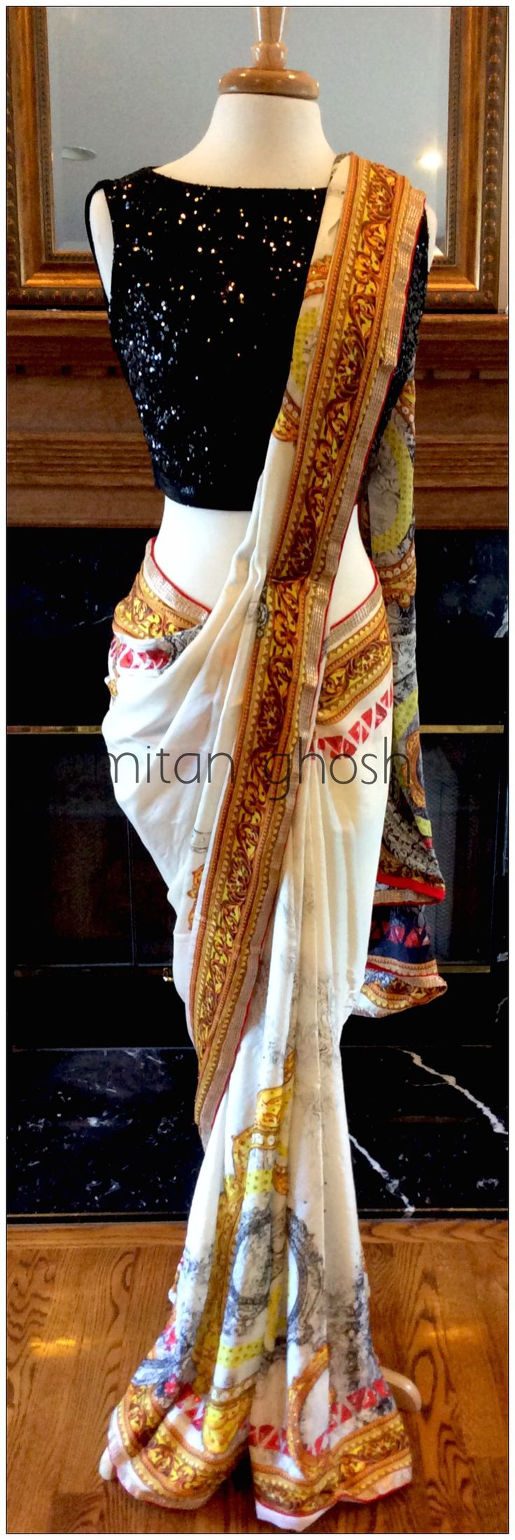 Digital printed saree with crystals