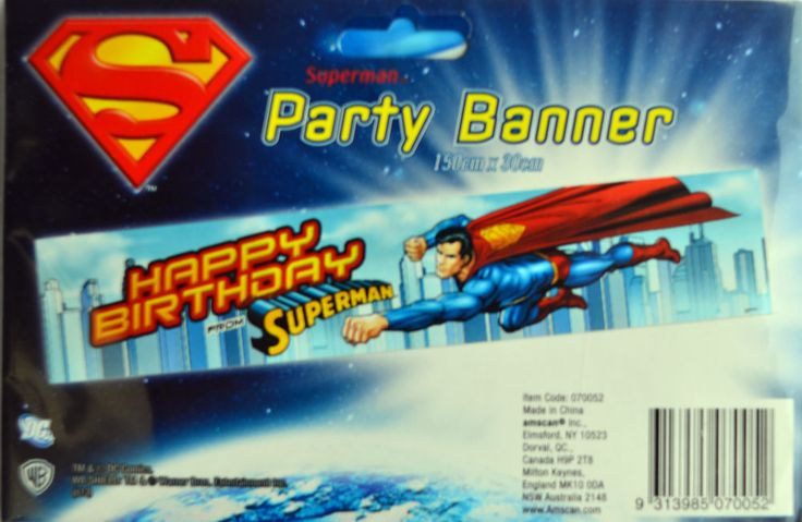 SUPERMAN PARTY SUPPLIES PARTY BANNER 150 x 30 CM FREE POSTAGE in Home & Garden, Parties, Occasions, Balloons, Decorations | eBay