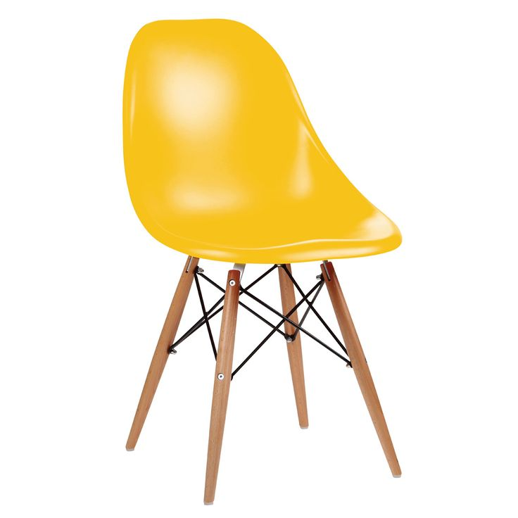 Yellow Eames Style Chair - A truely contemporary eames styled chair, as at home in a modern contemporary kitchen as in a retro dinner style. With the classic wooden cross braced design this chair makes more of a stament with its brigh colour. They will highlight any dining area perfectly