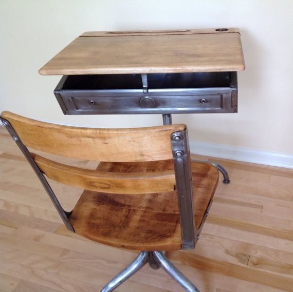 School Desk. Industrial Steel And Wood. Desk/chair Combo With Adjustable  Height And Swivel Chair