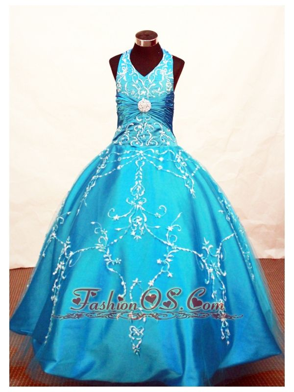 Modest Blue Flower Girl Pageant Dress With Appliques Decorate On Tulle Halter Neckline- $146.29  www.fashionos.com  2012 2013 Little Miss America pageant dress
