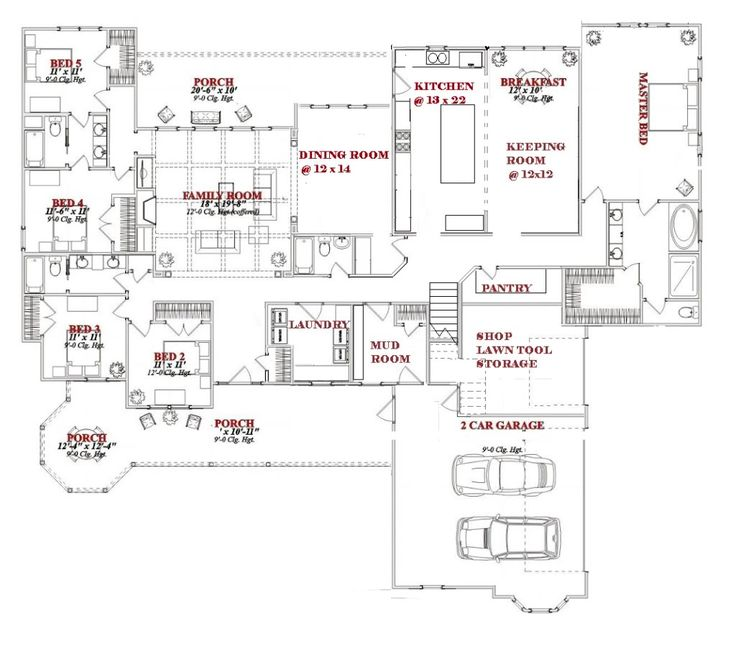 One story 5 bedroom house plans on any websites for One story floorplans