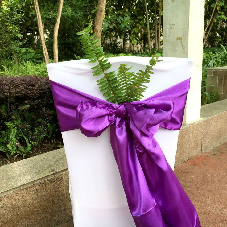 "By DHL,Purple Color 100 pcs/lot 6""x108"" Chair Bands Satin Chair Sashes Bow Wedding Banquet Supply Decoration"