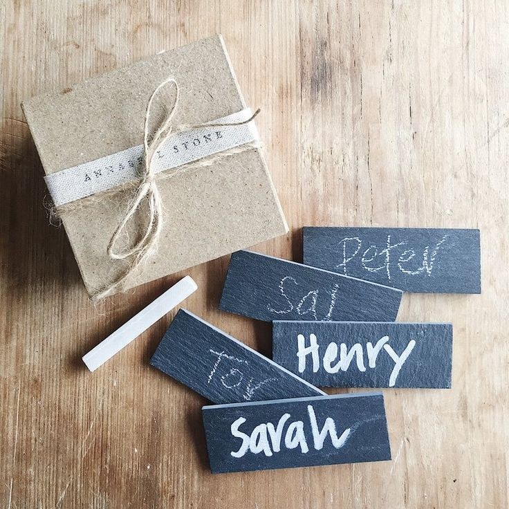 Slate Name Tags - perfect for weddings & events. Buy online at www.annabellstone.com.au