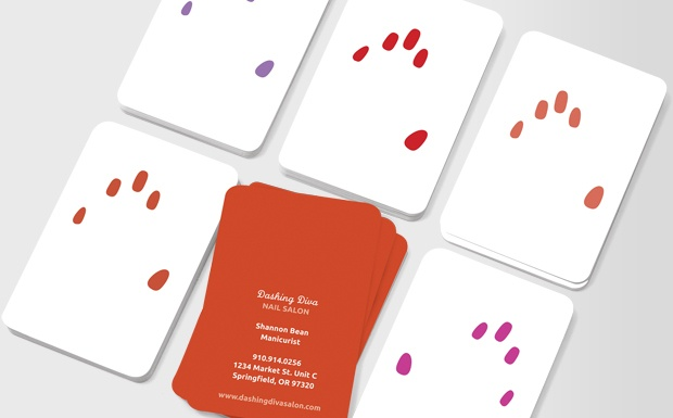In a range of bright colours for the glam girl in every woman, you can hand out these cards knowing the promise of stunning, stand-out nails will be synonymous with your business #moocard #businesscard