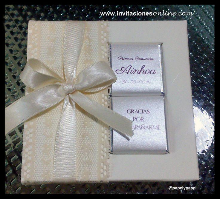 detalles de primera comunión blonda chocolatinas personalizadas Barcelona