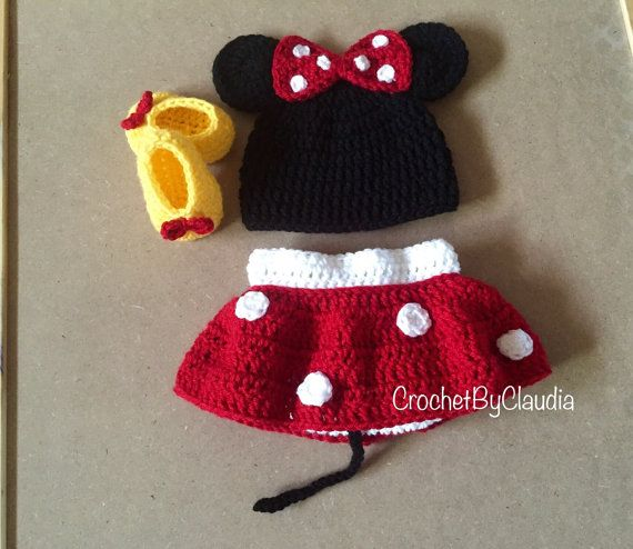 Crochet Minnie Mouse Inspired PhotoProp by CrochetByClaudia