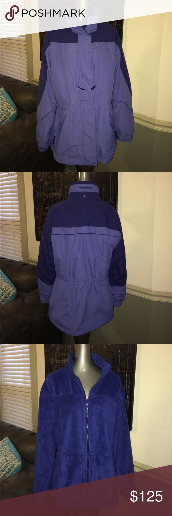 Columbia Sportswear 3-in-1 Bugaboo Jacket EUC--practically NEW--Columbia Sportswear 3-in-1 Bugaboo. Inner layer is a fleece jacket. Cinched at waist with adjustable cords. The outer shell is a weatherproof jacket with lots of pockets & cinched waist with cords. Zip them together and you've got an insulated jacket with fleece lining. It's 3 jackets in 1!! Beautiful lilac & grape color combo. I think I may have worn it 3 times max. More likely once or twice. Columbia Jackets & Coats