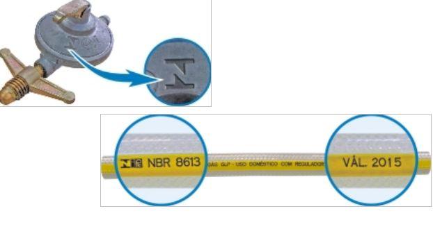 Instalação do botijão de gás GLP. A mangueira deve ser transparente com uma tarja amarela e trazer a inscrição NBR8613 e a data de validade. Cuidados na compra e instalação. Corpo de Bombeiros Paraná.