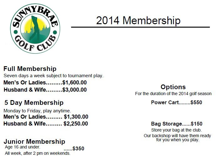 Now's the perfect time to consider a Sunnybrae Golf Club 2014 Membership! Our reasonable rates , and excellent new renovations & positive changes will have you loving being part of the Sunnybrae family.