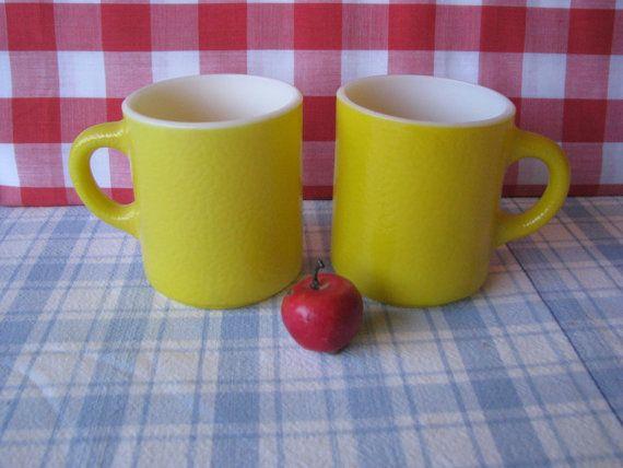 Hazel Atlas - Lemon Yellow Coffee Cups - Set of 2 - Glasbake - Vintage 1960's