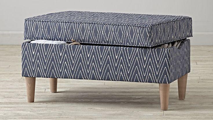 Upholstered Storage Bench (Dodson Denim) | The Land of Nod