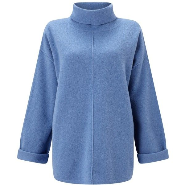 Jigsaw Boiled Wool Zip Jumper , River Blue (4.690 UYU) ❤ liked on Polyvore featuring tops, sweaters, river blue, print sweater, blue sweater, rollneck sweaters, print top and zip sweater