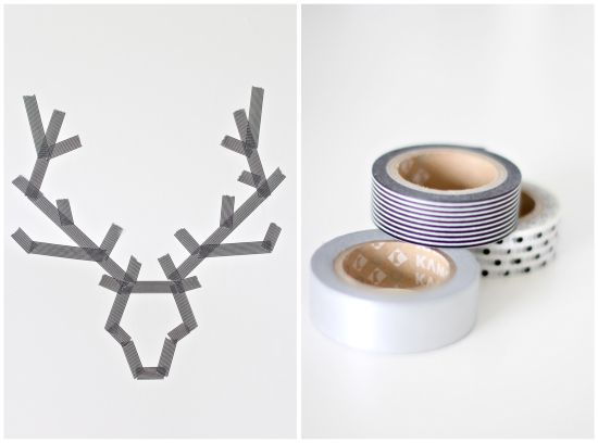 Masking tape deer on the wall detail