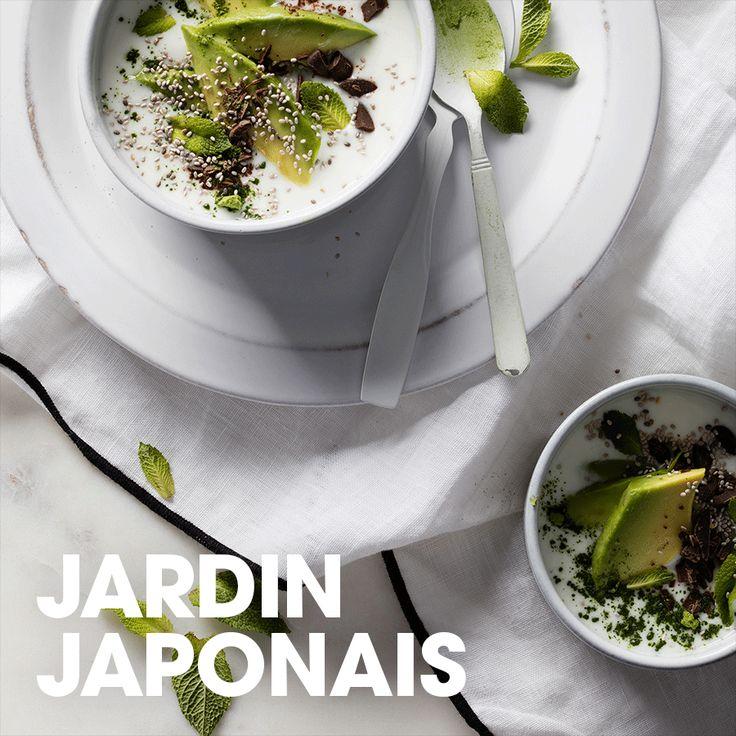 Jardin japonais#kéfir #matcha #chocolat #avocat #menthe #recette