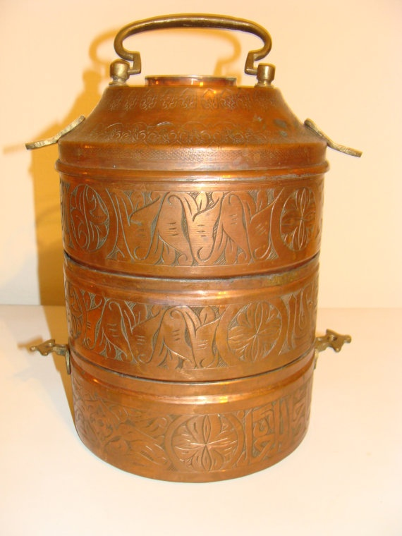 Stunning Ornate Indian Dabba Vintage Copper Tiffin Lunch